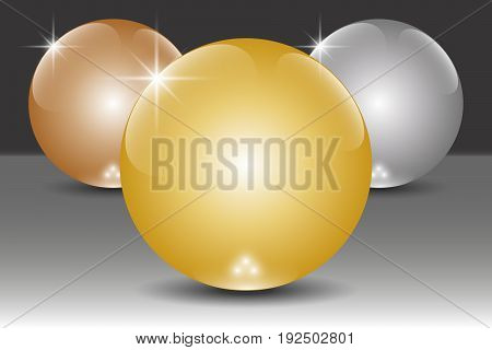 Golden silver and bronze 3D spheres. Vector illustration EPS10
