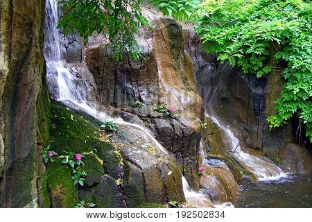 photography with scene of the small tropical waterfall as natural background