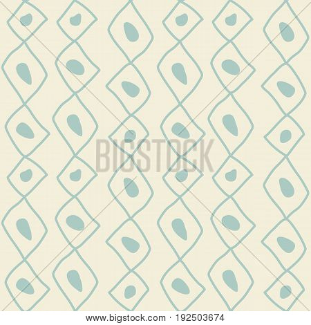 Seamless sketch vector pattern. White vertical twigs lines and zigzags with circles on brown background. Hand drawn abstract african style texture