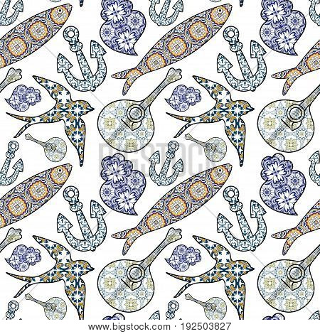 Collection of traditional Portuguese icons in seamless pattern. Colored ornamental sardines anchor swallow portuguese guitar and Viana's heart with typical Portuguese tiles patterns. Vector illustration