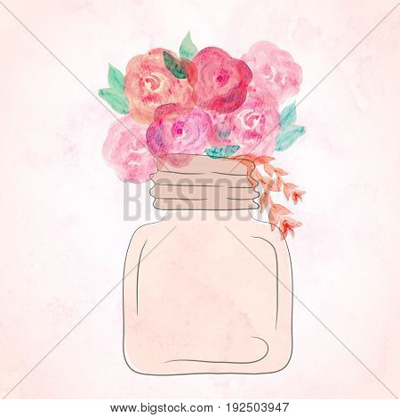 Watercolor art painted of beautiful flower in jar. Watercolor still life painting of flowers in vase.