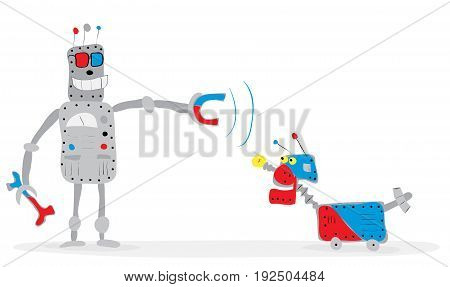 Vector illustration with cheerful robot in glasses trains his dog with a magnet / Intelligent remote control