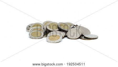 5 and 10 coin Thai baht isolated on white background