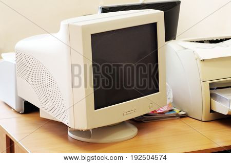 Close Up Of Old Computer Monitor Isolated On White Background With Clipping Path For The Screen