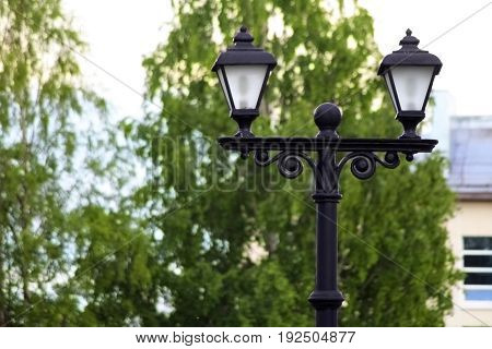 Beautiful Streetlight In Front Of Old Building