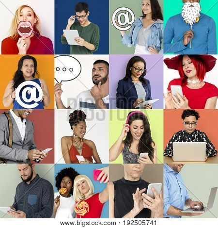 Set of Diverse People Communication Studio Collage