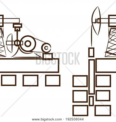 Oil Extraction Sea Platform In The Circle. Flat Design Vector Illustration.