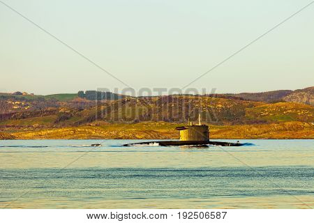 Submarine arriving at port in Norway .