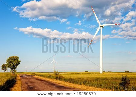 Wind Power Turbine and Country road .