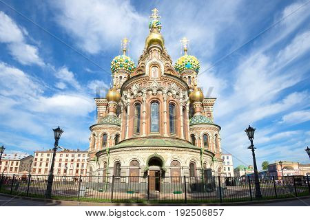 SAINT-PETERSBURG, RUSSIA - JUNE 10, 2017: Cathedral of the Resurrection of Christ (Spas-on-the-Blood) close-up on the June day