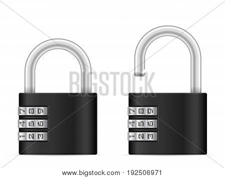 Padlock set on a white background. Vector illustration.