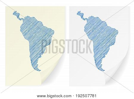 South America Scribble Map