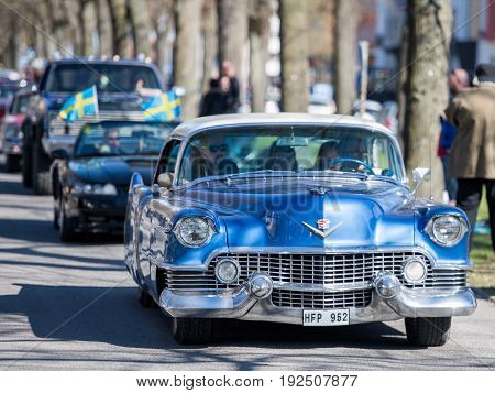 NORRKOPING, SWEDEN - MAY 1, 2017: Cadillac De Ville, 1954 at vintage car parade in Norrkoping. This parade started in 1974 and has become an annual tradition on May Day.