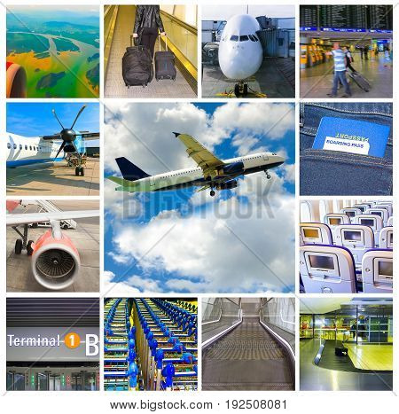 Collage about airport and airplane photos. Travel concept