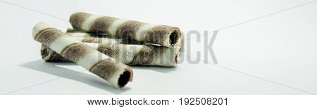 Waffle candy and cakes with white background