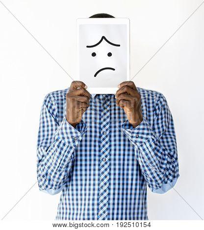 Illustration of boredom face on banner