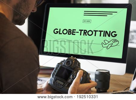 Globe trotting travel plane symbol