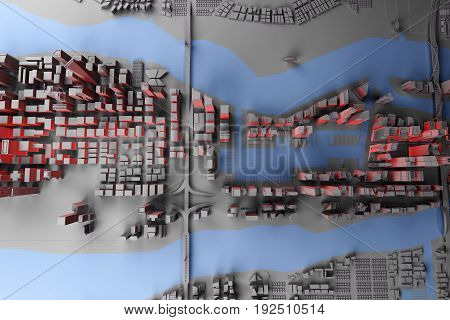 abstract gray city with red light top view. 3d rendering