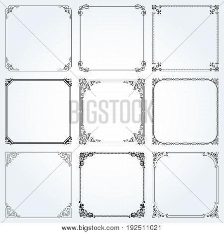 Decorative frames and borders square backgrounds vintage design elements set