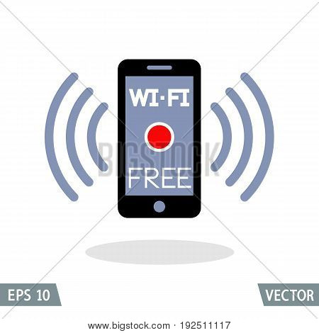 Smartphone and wireless connection free Wi-Fi icon. Vector Illustration.