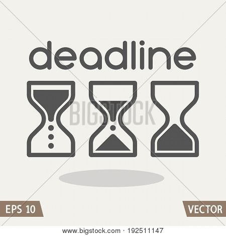 Hourglass time management business icons set. Deadline animated sandclock vector eps10 illustration.