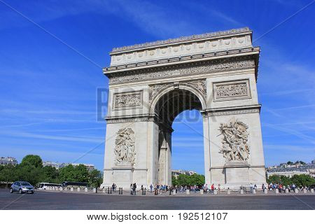 Arc de Triomphe famous symbol of city of Paris, France. Champs Elysees and Place Charles de Gaulle main landmark. Beautiful summer day scene with clear blue sky background.