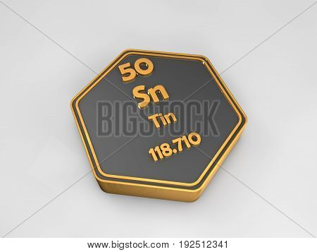 tin - Sn - chemical element periodic table hexagonal shape 3d render