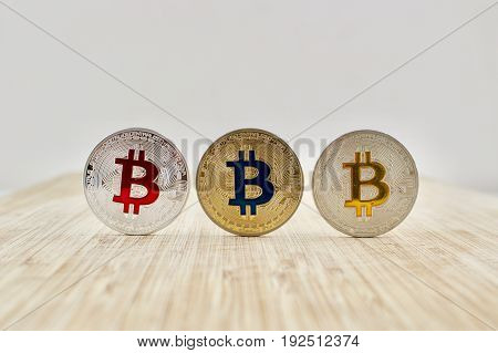 Red Blue And Yellow Bitcoins
