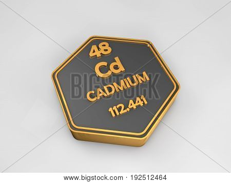 cadmium - Cd - chemical element periodic table hexagonal shape 3d render