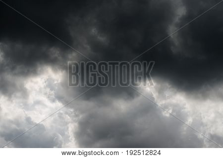 Background of rain or storm dark sky on cloudy day