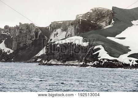 Deception Island South Shetland Islands archipelago northwest side of the Antarctic Peninsula.