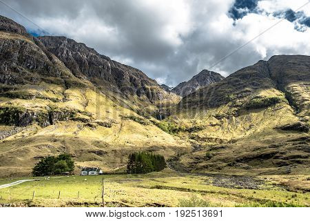 Amazing scottish landscape at Achnambeithach in Glencoe, Highlands, Scotland