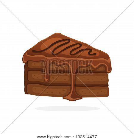 Vector illustration in cartoon style. А piece of cake with chocolate glaze cream and fondant. Decoration for menus, signboards, showcases