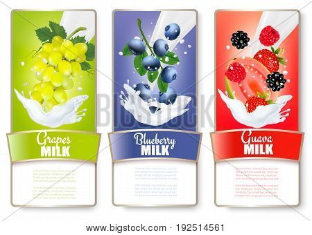 Set of three labels of of fruit in milk splashes. Strawberry blueberry guava raspberry blackberry grapes. Vector.