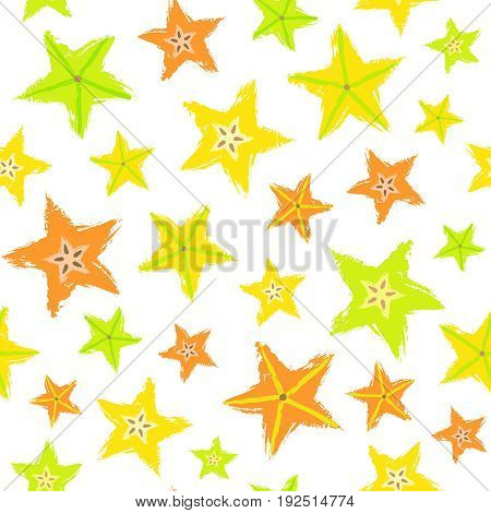 Starfruit Background. Fruit Painted Pattern. Seamless chaotic decoration for kitchen wallpaper, poster print, furniture textile, fashion fabric. Bright sliced carambola. Vector illustration.