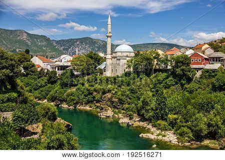 Mostar mosque in old town, Bosnia and Herzegovina