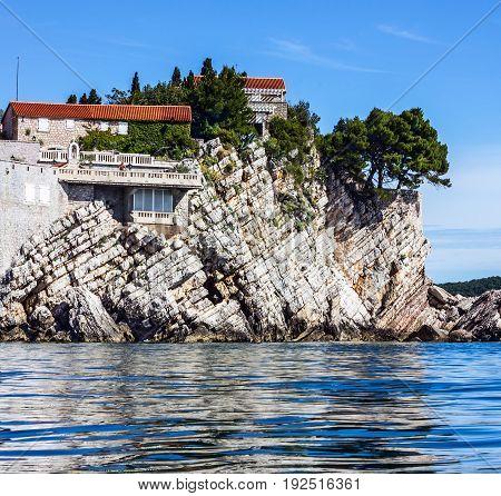 Houses and shore of Adriatic sea Budva, Montenegro.
