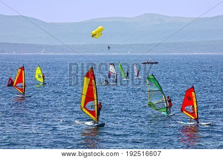 Brac island, Croatia - June 23, 2017: Windsurfing on Adriatic sea, Croatia, Brac island