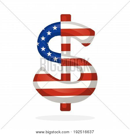 Vector illustration. Sign of dollar in national flag colors with one vertical line. Symbol of world currencies