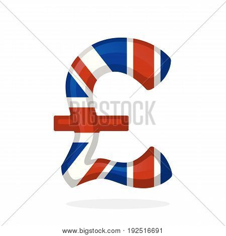 Vector illustration. Sign of pound in national flag colors. Symbol of world currencies