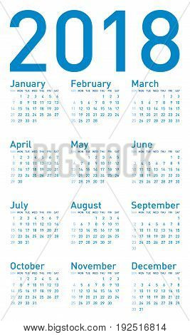 Simple Blue Calendar For Year 2018, In Vector Format.