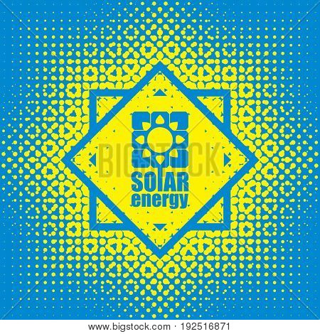 Vector banner of solar energy. The concept of green energy with the emblem of the solar panels and the sun on abstract blue yellow background