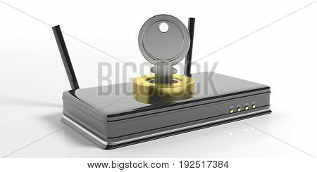 Wifi Router And Keylock Isolated On White Background. 3D Illustration