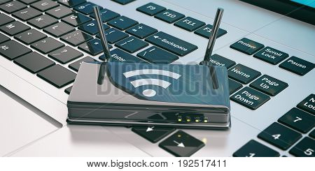 Wifi Router On A Laptop. 3D Illustration