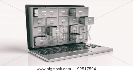 Laptop Data Storage Concept. 3D Illustration