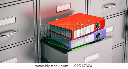Binders In Filing Cabinets Drawers. 3D Illustration