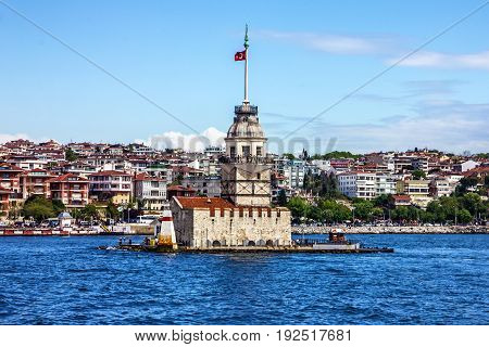The Maiden's Tower sea view in Istanbul, Turkey