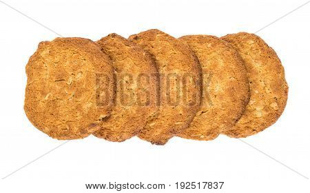 Row From Oatmeal Cookies Isolated On White Background