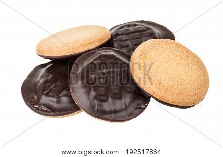 Heap Of Chocolate Cookies With Stuffed Isolated On White
