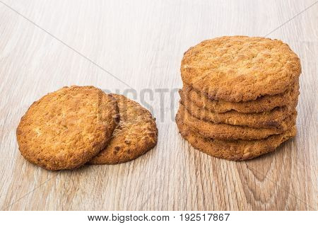 Stack Of Oatmeal Cookies On Table